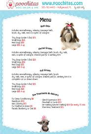 this is an example of what one of our a dog spa menus would look