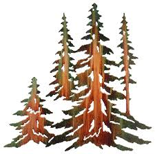 pine tree stand in metal cut out