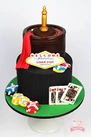 a 21st casino royale themed birthday cake the plaque was taken