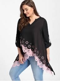 plus size blouse plus size overlap openwork scalloped blouse pink plus size