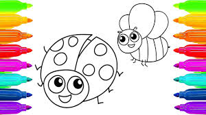 draw ladybug bee coloring book kids colored