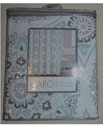 Gray And Teal Shower Curtain Find The Best Deals On Caro Home White Gray Teal Medallions