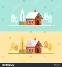 winter house autumn house family suburban stock vector 322230923
