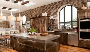 Stacked Stone Kitchen Backsplash Eldorado Stone Romabrick Accent Wall With A Modern Kitchen Island