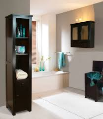 bathroom free standing built in storage made of woods completing