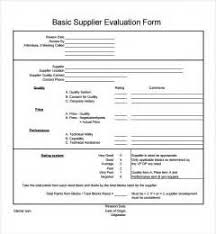 sample of supplier performance evaluation form sample resume