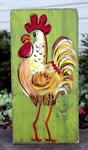 rustic rooster painting in kiwi 6 colors painted with love in