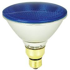 Colored Outdoor Light Bulbs Shop Mood Lites 90 Watt Blue Par38 Halogen Flood Light Bulb At