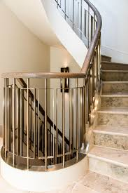 metal landing banister and railing helix staircase balustrades in almond gold pvd stainless steel