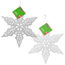 bulk house large glittery plastic snowflake ornaments
