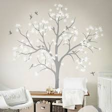 White Tree Wall Decal Nursery White Tree Wall Decoration Tree And Birds Wall Decal Vinyl