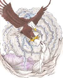 wolf and the eagle color by wolvris on deviantart