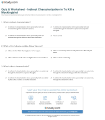 quiz u0026 worksheet indirect characterization in to kill a
