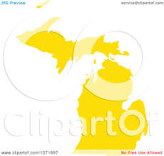 State Of Michigan Map by Clipart Of A Yellow Silhouetted Map Shape Of The State Of Michigan