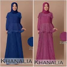 Baju Muslim Brokat baju muslim pesta khanalia b030 brokat model gamis remaja