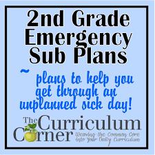 2nd grade emergency sub plans the curriculum corner 123