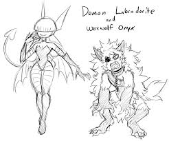 demon labra and werewolf onyx halloween themed by accursedasche