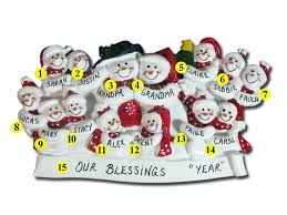 personalized snowman family ornament of 14