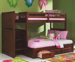 Bunk Bed With Stairs And Drawers Merlot Finish Mission Stairstepper Bunk Bed At Kids Furniture