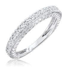 wedding rings women 1 carat diamond trio wedding ring set 14k white gold