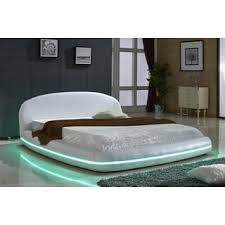 Platform Bed With Lights Oslo Round Queen Leatherette Bed With Headboard Lights Free