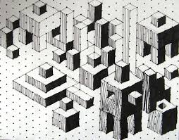 isometric cuboids isometric paper art patterns and op