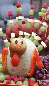 thanksgiving fruit and cheese turkey centerpiece