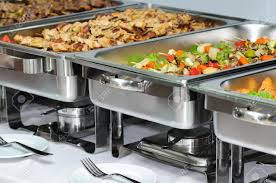 how to set a buffet table with chafing dishes banquet table with chafing dish heaters stock photo picture and