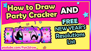 new years party stuff how to draw easy party cracker free fun2draw new years