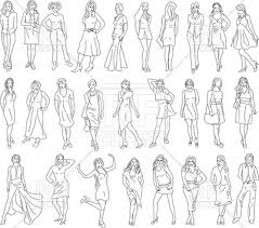 set of women sketches model pose vector clipart image 183339