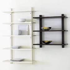 appealing unique shelving units design with black half moon cross