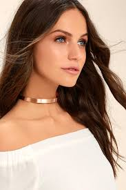 gold metal choker necklace images Cool rose gold necklace choker necklace collar necklace 16 00 jpg