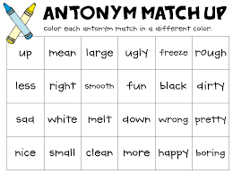 antonym match up every day classroom and student centered resources