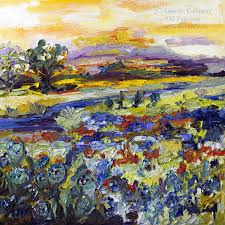 texas hill country 20 by 20 inch original impressionist oil