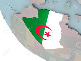 Algeria On Map Map Of Algeria On Political Globe With Embedded Flags 3d
