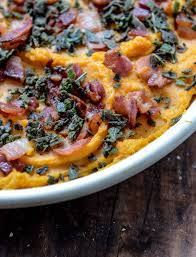 bourbon bacon sweet potatoes with brown butter and crispy