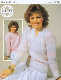 chunky round or v neck sweaters knitted in sirdar gemini brushed