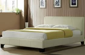 Faux Bed Frames Emporia Madrid 4ft6 Ivory Faux Leather