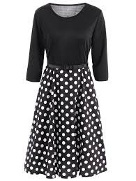 vintage belted 3 4 sleeve polka dot fit and flare dress for women
