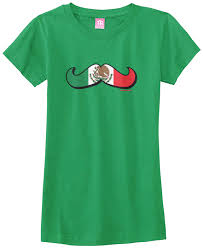 threadrock girls mexican flag mustache fitted t shirt mexico