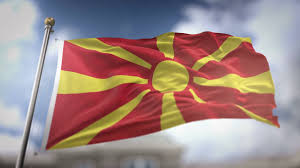 Macedonian Flag Republic Of Macedonia Flag Waving Slow Motion 3d Rendering Blue