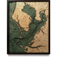 Framed World Map by Tampa Bay Wood Map 3d Nautical Topographic Chart Framed Art