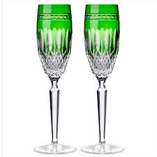 waterford clarendon emerald chagne flute set s of