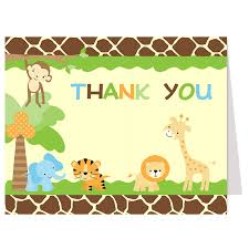 jungle safari thank you card boy baby showers white envelopes