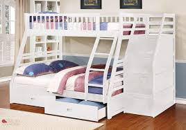 Fraser III White Twin Over Full Bunk Bed With Storage Drawers And - White bunk beds twin over full with stairs