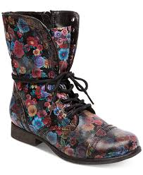 womens combat boots steve madden s troopa floral combat boots boots shoes