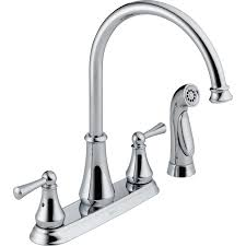 kitchen sink faucets lowes shop delta lewiston chrome 2 handle deck mount high arc kitchen