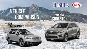 subaru tribeca 2016 kia comparison 2016 kia sorento vs 2015 subaru outback youtube