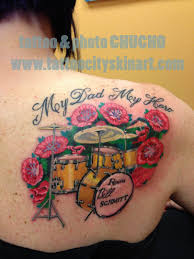 Drummer Tattoo Ideas Drum Set With Poppies Memorial Tattoo For Father Color Tattoo By