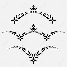 laurel wreath set decorative ornament with wings and